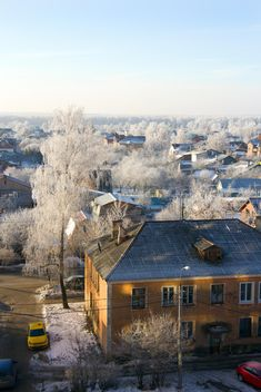 Aerial view on houses of Podolsk in winter - Free image #346995