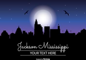Jackson Mississippi Night Skyline - Free vector #347495