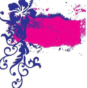 Flower Swirls Grunge Splats Frame - vector gratuit #347885