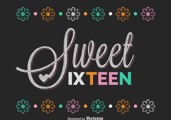 Free Sweet Sixteen Lettering Vector - vector gratuit(e) #348065