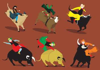 Fun Bull Rider Vectors - vector #348875 gratis