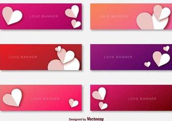 Love Banners Template Vectors - vector gratuit(e) #349075