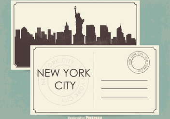 New York City Postcard Illustration - Free vector #349335