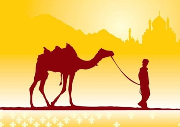 Boy with Camel on Desert - vector gratuit #349735