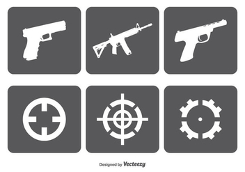 Fire Arms nad Target Vector Icon Set - vector gratuit(e) #349815