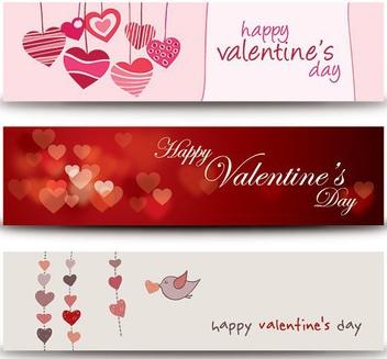 Valentine Heart Banner Set - Free vector #349895