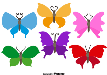 Colorful Flat Butterflies Vectors - Free vector #350065