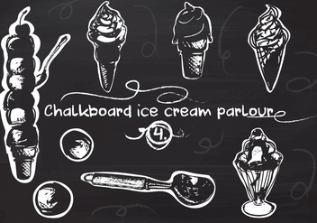 Free Hand Drawn Ice Cream set on Chalkboard Vector Background - Free vector #350115