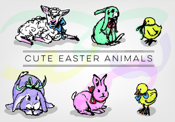 Vector Free Easter Animals - Kostenloses vector #350355