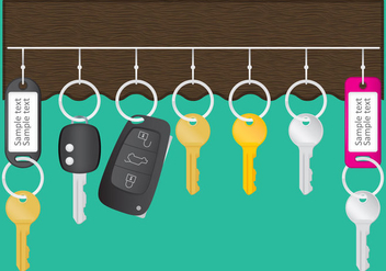 Wall Key Holder Vector - Free vector #350495