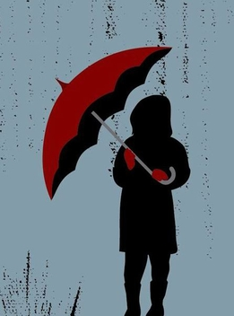 Girl with Umbrella in Rain - Free vector #350995
