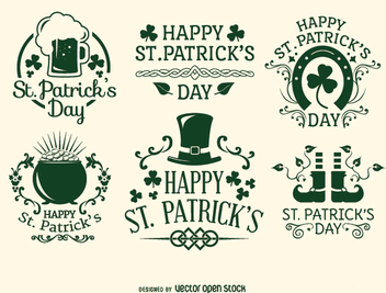 Happy St. Patrick's Day emblems - vector gratuit #351295