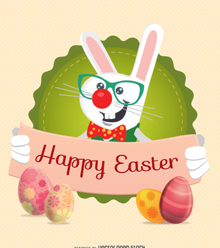 Easter Rabbit Character with ribbon message - бесплатный vector #351425