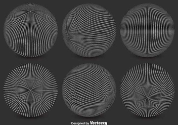 Vector Black and White Globe Grids - Free vector #351865
