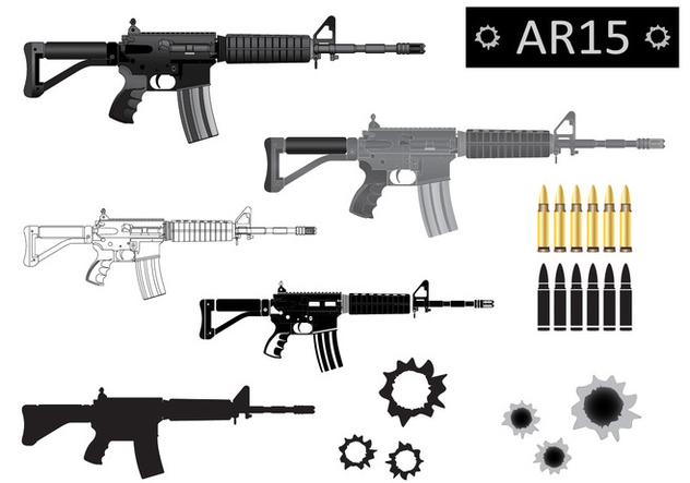 AR15 Vector Silhouette - бесплатный vector #352445
