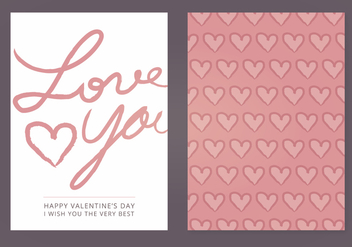 Love You Vector Valentine's Day Card - бесплатный vector #352855