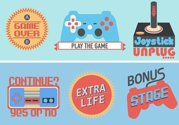 Retro Video Game Sticker - Free vector #353025