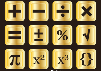 Golden Math Symbols Vector Sets - vector gratuit #353065