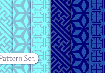 Blue Arabesca Vector Patterns - Free vector #353075