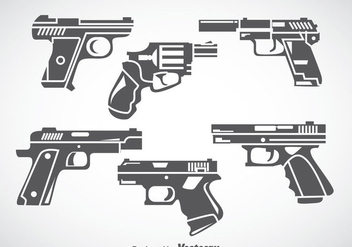 Hand Gun Gray Icons Vector - Free vector #353385
