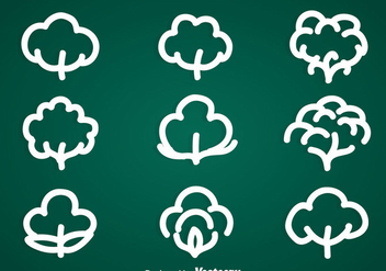 Cotton Plant Icons Vector Sets - Free vector #353445