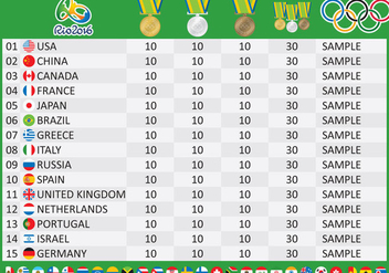 Olympic Medal Table Vetor - Free vector #353735