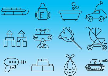 Toys Thin Line Icon Vectors - Kostenloses vector #354285