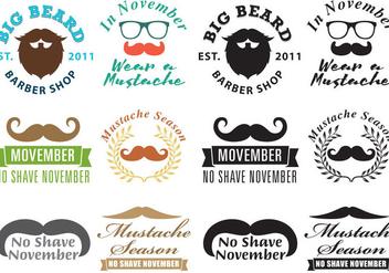 Mustache Movember Logo Vectors - Free vector #354335