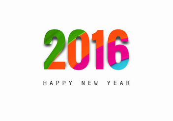 Happy New Year And 2016 Text Design - vector gratuit(e) #354415