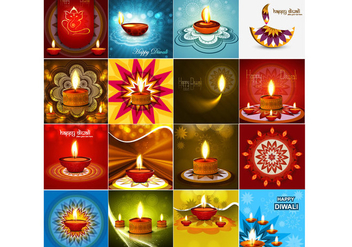 Happy Diwali Greeting Card With Oil Lamp - vector gratuit #354435