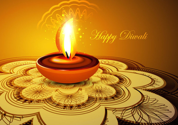 Glowing Diya On Rangoli - Free vector #354565