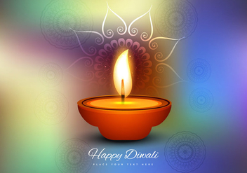 Burning Diya On Colorful Background - Free vector #354585