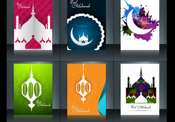Set Of Eid Mubarak Brochure - Free vector #354605