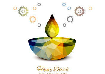 Colorful Diwali Lamp On White Background - vector gratuit #354725