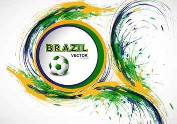 Splash Of Brazilian Flag Color With Soccer - vector gratuit #354895