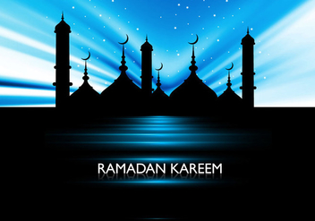 Silhouette Of Mosque On Ramadan Kareem Card - vector gratuit #355045