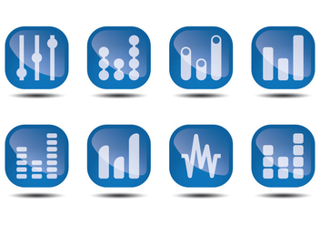 Sound Bars Glossy Icon Vectors - Free vector #355255