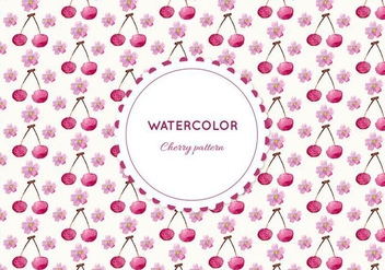 Free Vector Watercolor Cherry Pattern - Free vector #355375