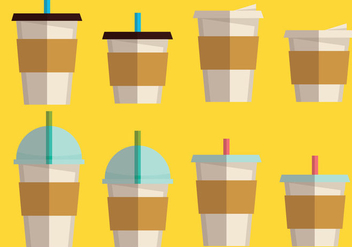 Coffee Sleeve and Coffee Drink set - vector gratuit #355605
