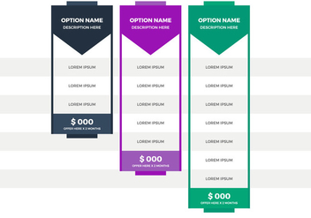 Free Pricing Table Vector - vector #355695 gratis