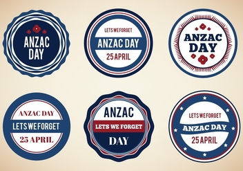 Free Vector Vintage Badges For Anzac Day - Free vector #355765