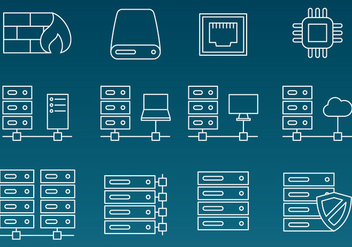 Server Rack Vector Line Icons - vector gratuit #355865