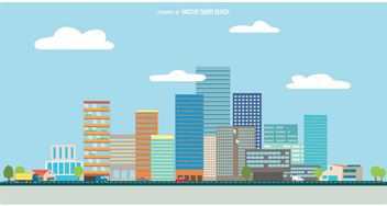 Flat style cityscape - vector #356045 gratis