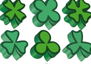 3d Green Clovers Vector Set - Free vector #356285