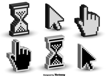 Mouse Click Cursor 3D Vector Icons - Free vector #356415