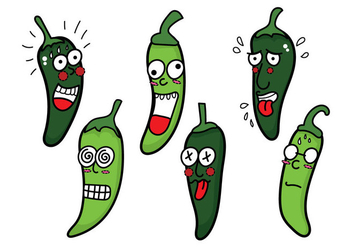 Green Hot Pepper Vector - vector gratuit(e) #356425