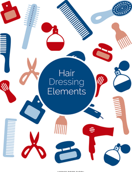 Set of colorful hairdressing elements - Free vector #356925