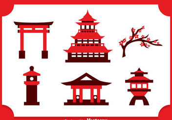 Japanese Castle Icons Vector - Free vector #357015