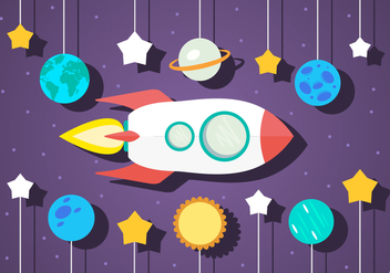 Free Flat Space Vector Illustration With Space Ship - vector gratuit #357035