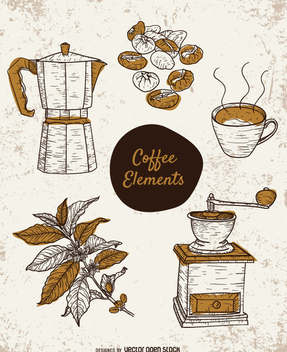 Hand-drawn coffee elements set - Free vector #357425